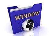 WINDOW bright gold letters on a blue folder