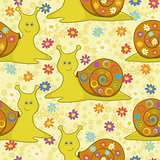 Seamless, cartoon snail and flowers