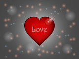 Love heart over glowing background