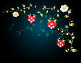 Pattern of beautiful fruits flowers on a black base. EPS10 vector illustration