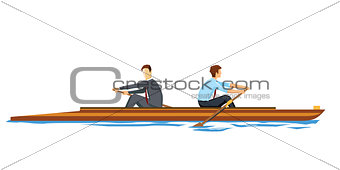 Business people rowing in the opposite direction