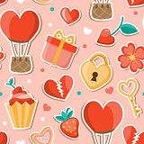Pink romantic seamless pattern