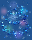 Blizzard swirls in a spiral snowflakes and festive lights on a blue base. EPS10 vector illustration