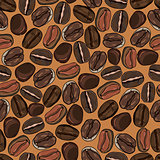 coffee beans seamless background, vector