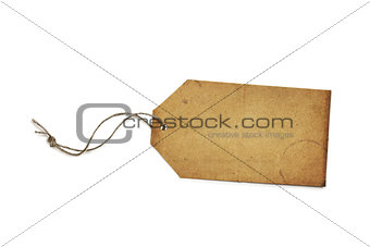 Blank Vintage Paper Price Tag or Label Isolated on White