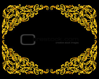 Rich gold vector baroque curly ornamental frame for design