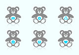 Teddy bear icons with website icons