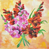 Gladiolus Flowers Painting. Vector