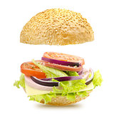 Open Hamburger On A White Background