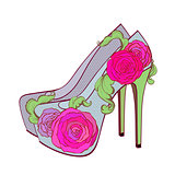 Fasion high - heel shoes with rosesand vintage leaves