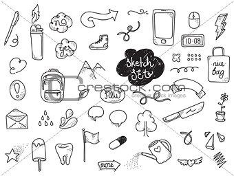 Sketch set. Hand drawn vector elements.