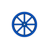 Vintage wooden wheel in blue design