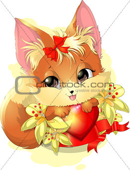 beautiful fox among the flowers