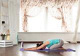 yoga studio in the daytime. Asanas.