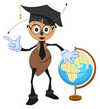 Ant teacher holding globe. Geography teacher