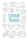Summer Travel and Tourism Handdrawn Set. Vector Illustration