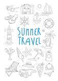 Summer Travel and Tourism Handdrawn Set. Vector Illustration