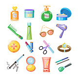 Cosmetics Icons. Vector Illustration Set