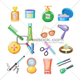 Cosmetics Icons. Vector Illustration Set
