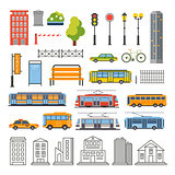 Transportation and City Traffic Infographics Elements. Vector Illustartion