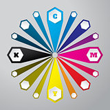 Cmyk wallpaper with 3d hexagons and color combinations