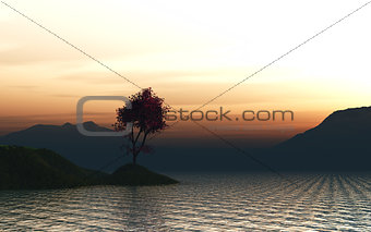 3D render of a maple tree landscape