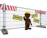 3D Morph Man at Construction Fence