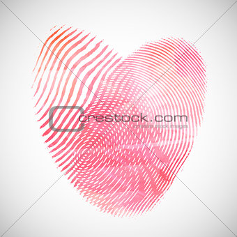 Watercolor fingerprint hearts