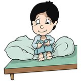 Boy Sitting In Bed
