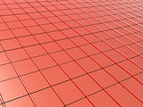 Metallic roof tiles of red color
