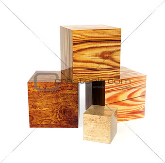 Four boxes with wood textures