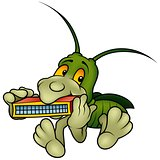 Grasshopper Playing a Harmonica