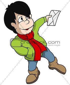 Boy Holding Envelope