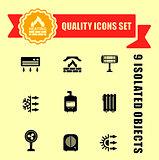 quality heating icon set