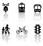 road symbols set with reflection