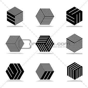 Abstract geometric icons set.
