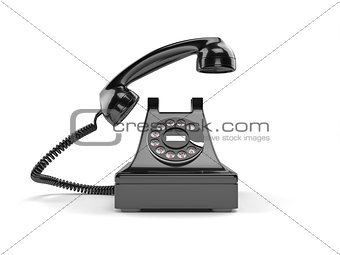 Black old-fashioned old rotary phone isolated