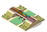 Vector isometric train bridge