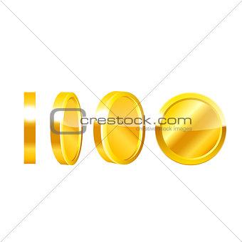 Gold coins vector.