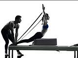 couple pilates reformer exercises fitness isolated