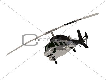 ARMY Silver helicopter with working propeller