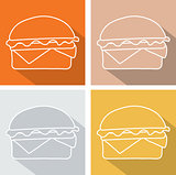 Set hamburger icon  symbol with long shadow. Vector illustration eps 10.