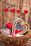Many hearts inside a wooden basket