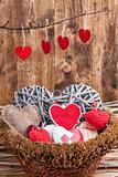 Many hearts inside a wooden basket