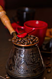 Turk coffee with beans