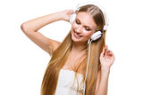 Girl with big headphones on head
