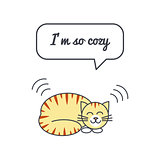 Cozy cat with speech bubble and saying