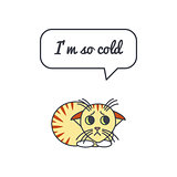 Frozen kitten with speech bubble and saying