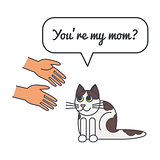 Spotty cat with speech bubble and saying