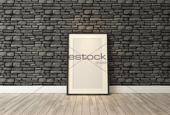 Black picture frames decor with black natural brick wall, backgr